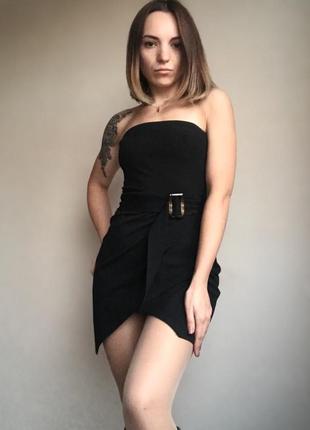 Вечернее коктейльное черное платье бюстье
