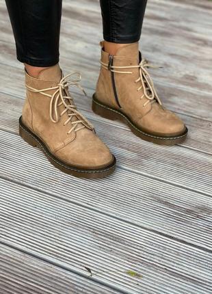 Женские нубуковые ботинки на шнуровке 116-01