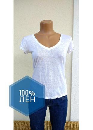 Базовая футболка v-образный вырез зара zara белая лен