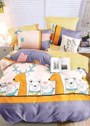 Детский постельный комплект полуторный, cатин, разные рисунки