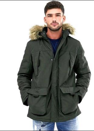 Парка, куртка хаки jack & jones мужская размер s-m зимняя осенняя