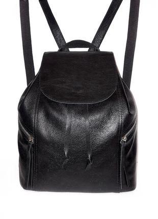 Черный кожаный рюкзак с карманами/ рюкзак из натуральной кожи