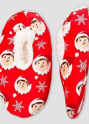 Новые детские флисовые тапочки на меху kids the elf on the shelf