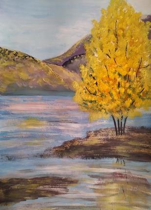 "Картина ""осень на озере"" ручная работа"