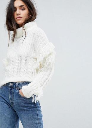 Стильный свитер с косами и отделкой из бахромы asos prettylittlething