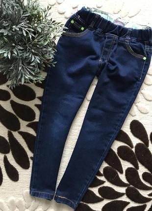 🌿классные джинсики на резинке, темно-синие, унисекс