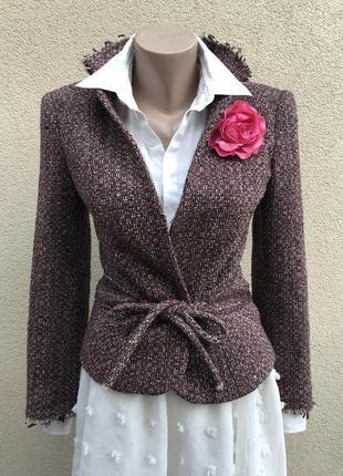 Твидовый,шерсть жакет пиджак блейзер,в знаменитом стиле