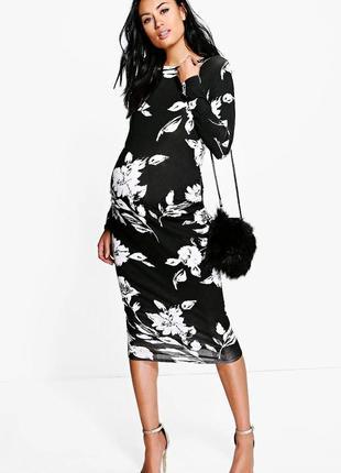 Черно-белое платье для беременных с длинным рукавом