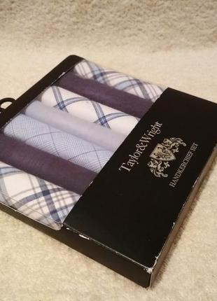 Набор мужских носовых платков в коробке  taylor&wright