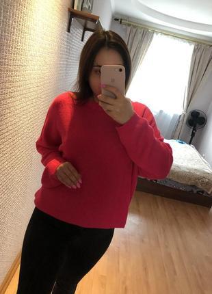 Малиновый яркий свитер оверсайз джемпер пуловер свитер