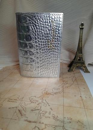 Кожаная обложка чехол на паспорт загран или украинский металлик