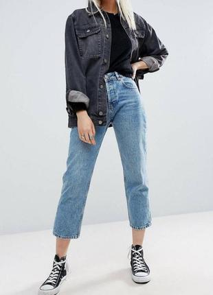 Плотные прямые джинсы высокой посадки