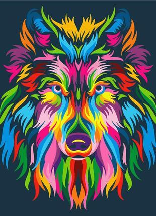 Картина по номерам радужный волк