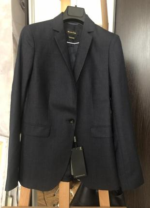 Новый классический женский темно-синий пиджак massimo dutti