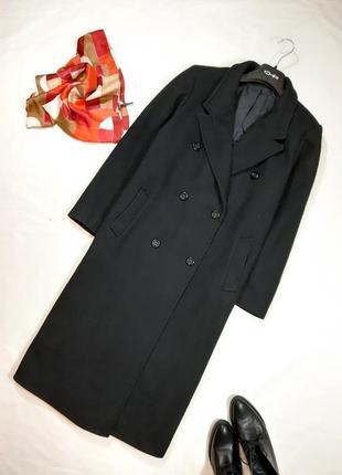 Трендовое шерстяное пальто миди, двубортное, в винтажном стиле, s-l