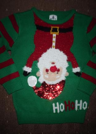 Новогодний свитер george 5-6 лет
