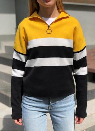 Стильный свитер с молнией джемпер на горле в чёрную полоску от new look