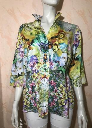 Яркая рубашка блузка принт орхидеи