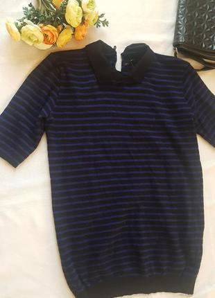 Стильный свитер футболка поло в полоску с воротничком