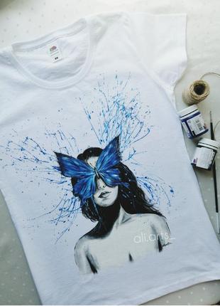 Кастомизация футболка с ручной росписью красками рисунок не принт брызги бабочка