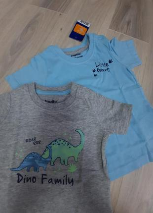 Набор из 2-х футболок lupilu 50/56, 62/68, 74/80 и 86/92 серия дино