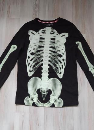 Подростковая  кофта свитшот со скелетом хеллоуин от tu