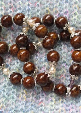Бусы колье ожерелье из натурального камня, 59 см.