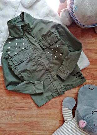 Детская супер стильная куртка - жакет милитари для девочки next - возраст 8-9 лет