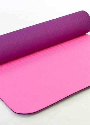 Коврик для йоги и фитнеса , йогамат tpe с чехлом 183х61х0,6