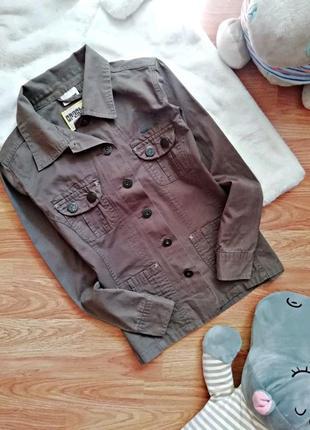 Детский коттоновый пиджак - жакет милитари для девочки - рост 152 см