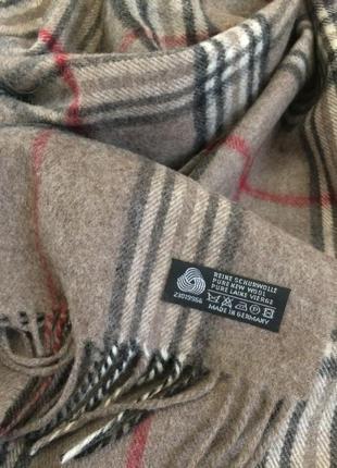 Тёплый шарфик стильная клетка из натуральной шерсти