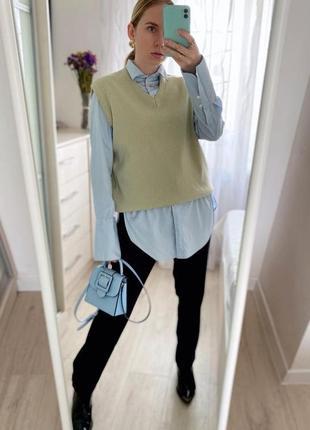 Качественная нежно-голубая рубашечка