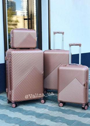 Комплект чемоданов из поликарбоната премиум малый, средний, большой + бьюти кейс розовый