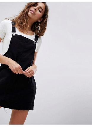 Джинсовый крутой комбинезон, черный, трендовый комбинезон, платье-комбинезон.