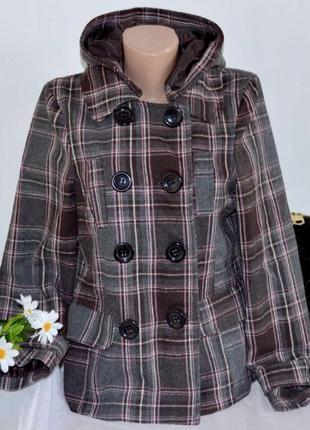 Брендовое демисезонное пальто полупальто с капюшоном и карманами в клетку e-vie акрил