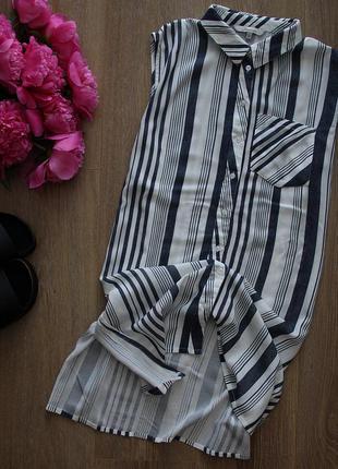 Удлиненная рубашка с разрезами р 12 , можно меньше фото на теле рост 155 88-62-92