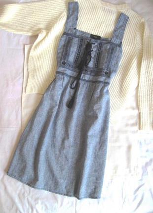 Льняной натуральный сарафан платье-миди с вышивкой бохо next