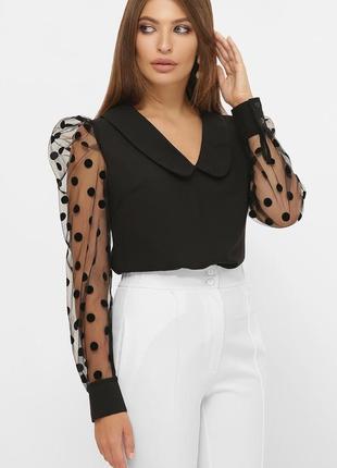 Стильная и гламурная блузка с прозрачными рукавами с трендовым воротником