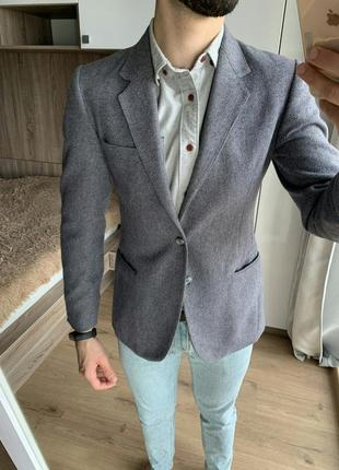 Мужской серый классический кежуал пиджак приталенный зауженный winchester