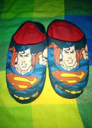 Домашние теплые тапки супермен
