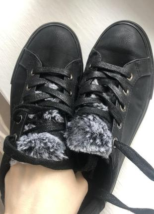 Кеды кроссовки женские черные с мехом мокасины оксфорды