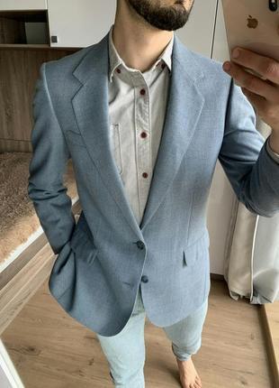 Мужской классический голубой зауженный приталенный пиджак c&a