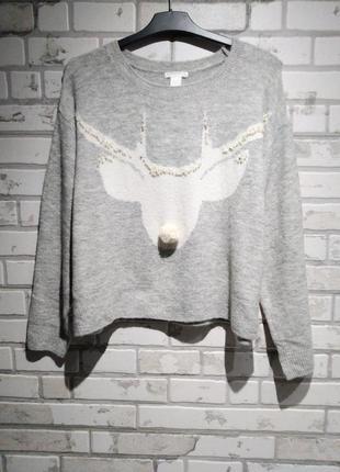 Мягкий вязаный свитер с оленем, джемпер оверсайз н&м
