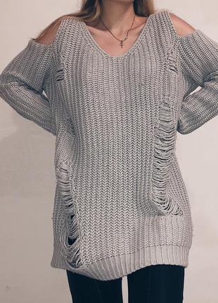 Платье свитер oversize с открытыми плечами new look