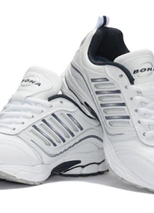 Кожаные белые кроссовки bona (36-41р)