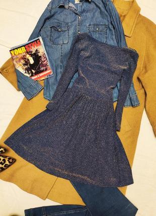 Topshop платье короткое синее серебристое с вырезом на спине