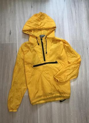 Вітровка худі дощовик анорак куртка / худи ветровка дождевик с капюшоном желтый