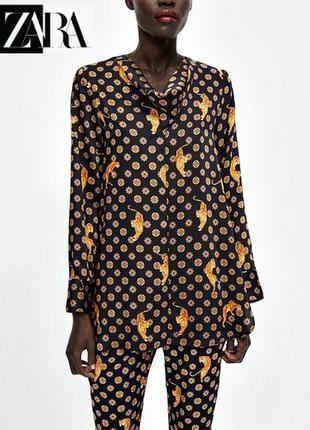 196. атласная блузка с хомутом с тигровым принтом zara , пр-во морокко