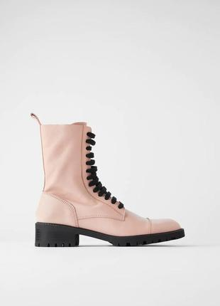 100% кожа новые женкие ботинки zara 36 37 38 жіночі черевики zara 36 37 38