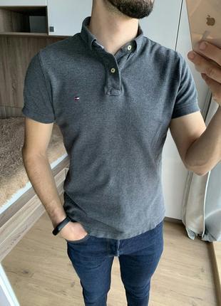 Мужское базовое серое поло футболка tommy hilfiger